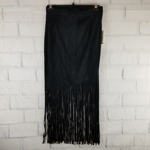NWT... ALEXIA ADMOR Black Faux Suede Fringe Skirt